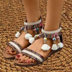 Frauen Stoff PU Flascher Absatz Sandalen Slingpumps mit Reißverschluss Quaste Blume Schuhe