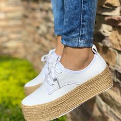 Frauen PU Flache Schuhe Round Toe mit Zuschnüren Schuhe