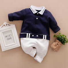 Baby Colorblock Knopf Druck Baumwolle Badeanzüge