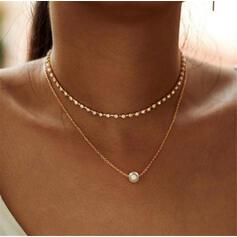Modisch Legierung Strasssteine Faux-Perlen Halsketten