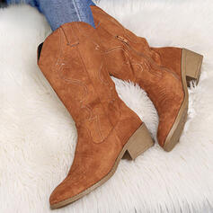 Women's Suede Cloth Chunky Heel Mid-Calf Boots Pointed Toe With Zipper Solid Color Embroidery shoes