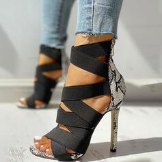 Frauen PU Stöckel Absatz Sandalen Absatzschuhe Peep Toe Heels mit Tierdruckmuster Reißverschluss Schuhe