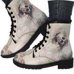 Frauen PU Niederiger Absatz Stiefel Martin Stiefel mit Bestickt Schuhe