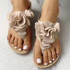 Frauen PU Flascher Absatz Sandalen Flip Flops Pantoffel mit Blume Gummiband Schuhe