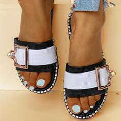 Women's PVC Flat Heel Sandals Flats Peep Toe Slippers With Rhinestone Imitation Pearl Buckle shoes