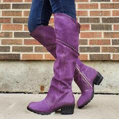 Frauen Veloursleder Stämmiger Absatz Stiefel Round Toe mit Strass Reißverschluss Einfarbig Schuhe
