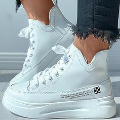 Frauen PU Flascher Absatz Flache Schuhe mit Zuschnüren Einfarbig Schuhe