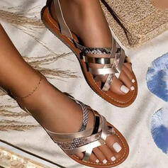 Women's PU Flat Heel Sandals Flats Flip-Flops Slippers With Animal Print Hollow-out shoes