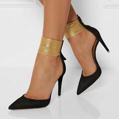 Frauen Veloursleder Stöckel Absatz Absatzschuhe mit Reißverschluss Schuhe