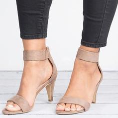 Frauen Stoff Sandalen Absatzschuhe Peep Toe Heels mit Reißverschluss Schuhe