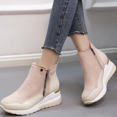 Women's Suede Others Round Toe With Zipper Solid Color shoes