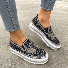 Frauen PU Flascher Absatz Flache Schuhe Round Toe mit Applikationen Spleißfarbe Schuhe