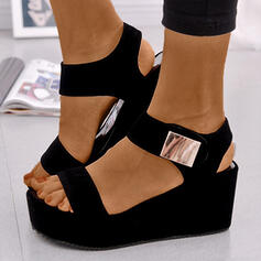 Frauen PU Keil Absatz Sandalen Plateauschuh Keile Peep Toe mit Schnalle Schuhe