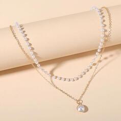 Elegant Legierung mit Faux-Perlen Frauen Halsketten 1 PC