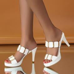 Frauen PU Stöckel Absatz Absatzschuhe Peep Toe Pantoffel Heels mit Strass Schuhe