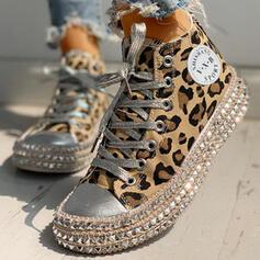 Frauen Baumwollstoff Lässige Kleidung Outdoor mit Tierdruckmuster Zuschnüren Schuhe