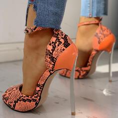 Frauen PU Stöckel Absatz Absatzschuhe mit Schnalle Tierdruckmuster Schuhe