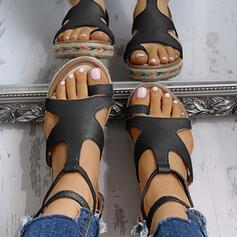 Frauen PU Keil Absatz Sandalen Plateauschuh Peep Toe mit Kreuz und quer Schuhe