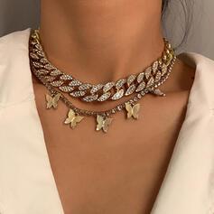 Modisch Jahrgang Legierung mit Strass Vergoldet Schmetterling Frauen Damen Halsketten 2 STÜCK
