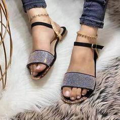 Frauen PU Flascher Absatz Sandalen Flache Schuhe Peep Toe mit Strass Schnalle Hohl-out Schuhe