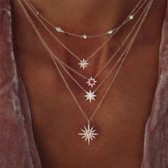 Boho Geschichtet glänzender Stern Legierung mit Star Sonne Halsketten (Satz 5)