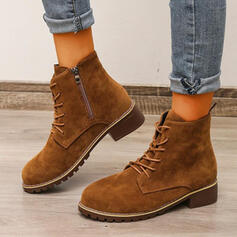 Women's Suede Chunky Heel Boots Ankle Boots Round Toe With Lace-up Solid Color shoes