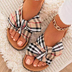 Women's Cloth Flat Heel Sandals Flats Peep Toe Slippers With Bowknot Splice Color Striped shoes