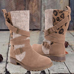 Women's Microfiber Chunky Heel Mid-Calf Boots Round Toe With Buckle Animal Print shoes