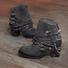 PU Stämmiger Absatz Stiefelette Round Toe mit Reißverschluss Geflochtenes Band Einfarbig Schuhe
