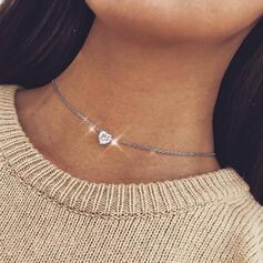 Glänzende Herz Legierung Kristall Frauen Halsketten
