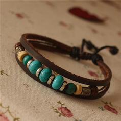Vintage Classic Alloy Leather Rope Beads Women's Men's Bracelets