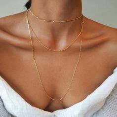 Einfache Geschichtet Legierung Frauen Halsketten 3 PCS