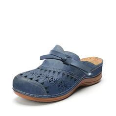 Frauen PU Flascher Absatz Flache Schuhe Round Toe Schlüpfen mit Hohl-out Schuhe