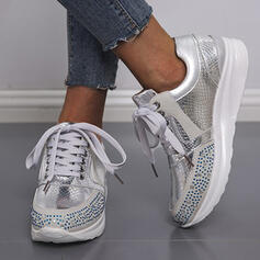 Women's PU Rhinestone Flat Heel Flats Round Toe Sneakers With Rhinestone Lace-up Solid Color shoes