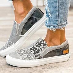 Frauen Leinwand Flascher Absatz Low Top Schlüpfen mit Tierdruckmuster Gummiband Schuhe