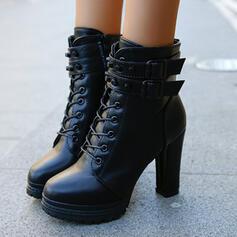 Frauen PU Stämmiger Absatz Stiefelette Round Toe mit Reißverschluss Zuschnüren Einfarbig Schuhe