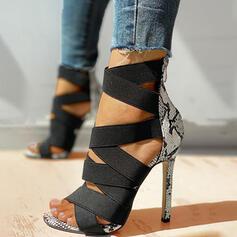 Women's PU Stiletto Heel Sandals Pumps Peep Toe Heels With Animal Print Zipper shoes