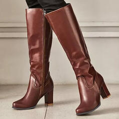 Women's PU Chunky Heel Boots Knee High Boots Heels Round Toe With Zipper Solid Color shoes