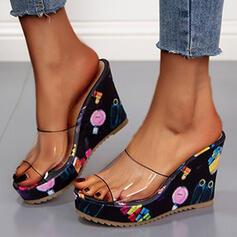 Women's PU Wedge Heel Sandals Platform Wedges Peep Toe Slippers With Colorblock shoes