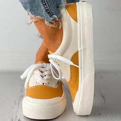 Frauen Leinwand Flascher Absatz Flache Schuhe Round Toe mit Zuschnüren Spleißfarbe Schuhe