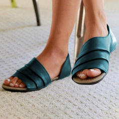 Frauen Satin Flascher Absatz Sandalen Flache Schuhe Peep Toe mit Andere Schuhe