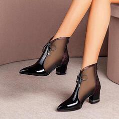 Frauen Kunstleder Stämmiger Absatz Geschlossene Zehe Stiefelette Spitze mit Zuschnüren Hohl-out Schuhe
