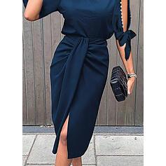Einfarbig/Perlen 1/2 Ärmel/Geteilte Ärmel Etui Knielang Kleine Schwarze/Elegant Kleider
