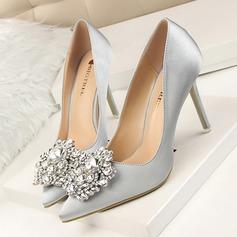 Women's Satin Stiletto Heel Pumps Closed Toe With Rhinestone shoes