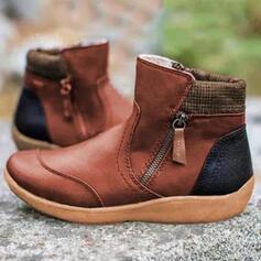 Women's PU Wedge Heel Boots With Zipper Colorblock shoes