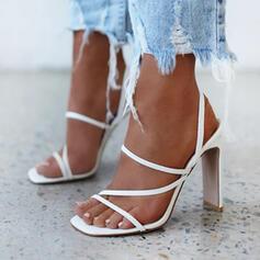 Frauen Mikrofaser Stämmiger Absatz Peep Toe mit Hohl-out Schuhe