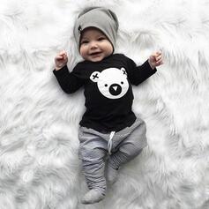 2 Stücke Baby Junge Bär Tier Druck Baumwolle Stellen Sie Größe