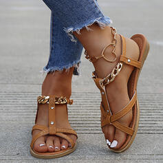 Women's PU Flat Heel Sandals Flats Peep Toe Slingbacks With Buckle Chain Hollow-out shoes