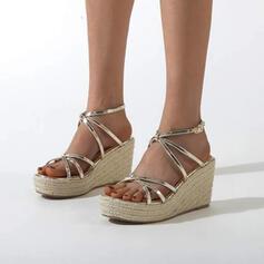 Frauen PU Keil Absatz Espadrille-Absatz Sandalen Absatzschuhe Plateauschuh Keile Peep Toe mit Schnalle Hohl-out Schuhe