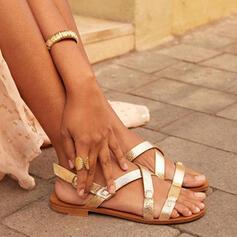 Frauen PU Flascher Absatz Sandalen Flache Schuhe Peep Toe mit Schnalle Hohl-out Schuhe